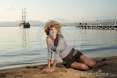 Beauty woman at sea