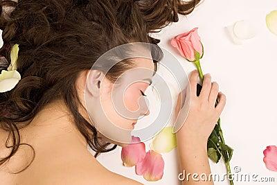 Beauty woman sleep with rose