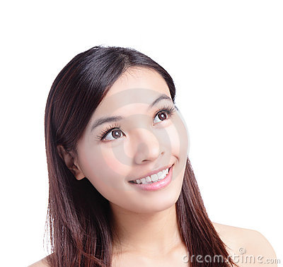 Beauty woman smiling looking at copy space