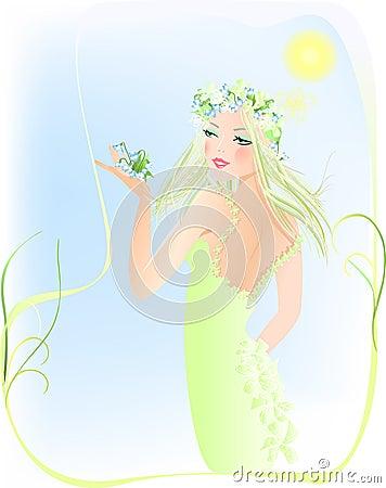 Free  Beauty Woman & Spring Garden Stock Photography - 6840482