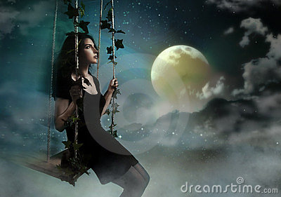 Beauty woman swinging in night heaven