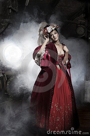Beauty woman wearing old fashioned dress