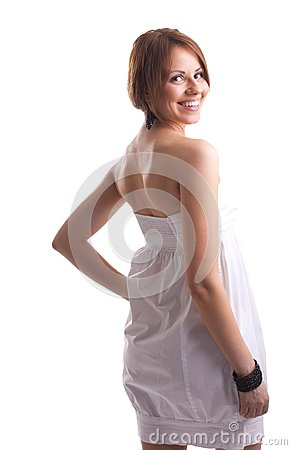 Beauty woman on white cloth look at you smile