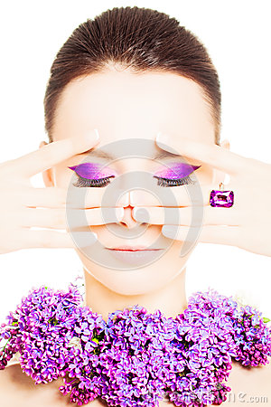 Free Beauty Woman With Colorful Makeup Royalty Free Stock Photography - 55138217