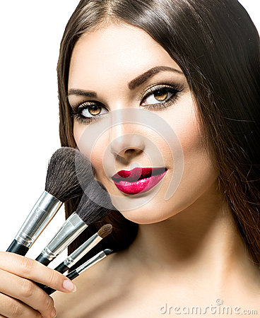 Free Beauty Woman With Makeup Brushes Stock Images - 46094444