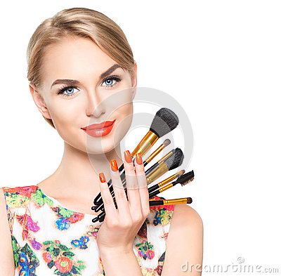Free Beauty Woman With Makeup Brushes Royalty Free Stock Image - 57357456