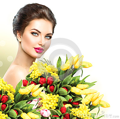 Free Beauty Woman With Spring Flowers Bouquet Stock Photos - 51756903