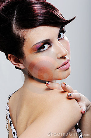 Beauty woman withcolored make-up