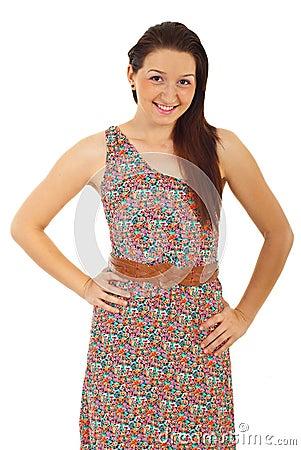 Beauty womanin floral dress