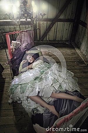 Beauty women in dress lying in the bed