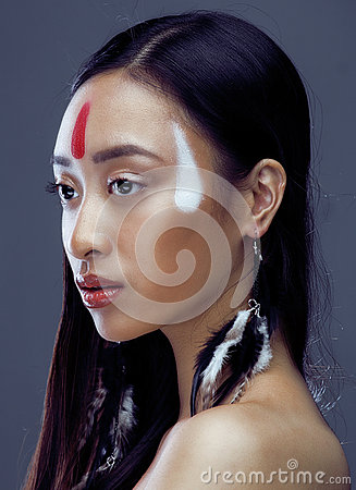 Free Beauty Young Asian Girl With Make Up Like Pocahontas, Red Indians Woman Fashion, Close Up Beauty Royalty Free Stock Images - 65730139