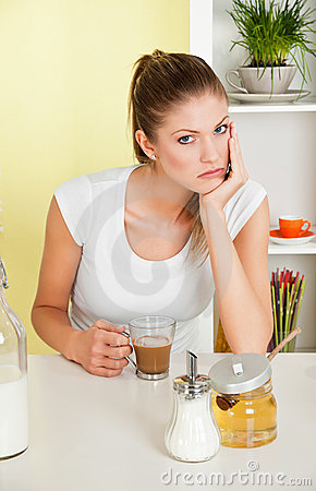 Beauty, young girl taking coffee