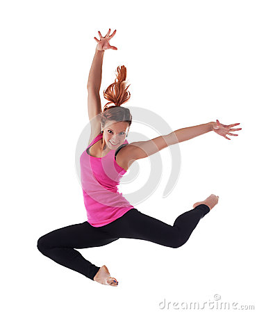 Beauty young woman jump in acrobatic costume