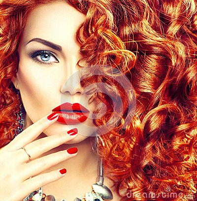 Free Beauty Young Woman With Curly Red Hair Stock Image - 62391731