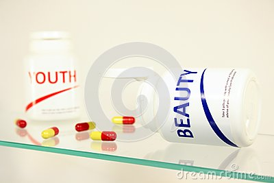 Beauty and youth pills in a bottle
