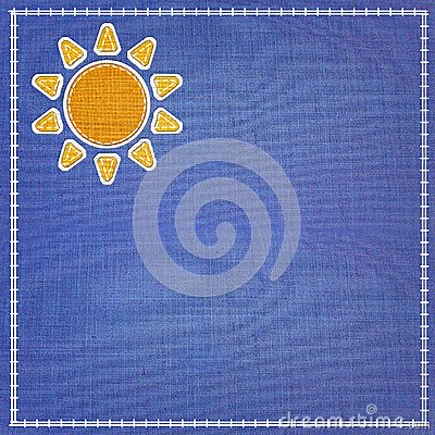 Beautyful fabric sun icon.