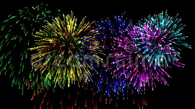 Beaux feux d'artifice de CG. dans le jour de célébration, alpha banque de vidéos