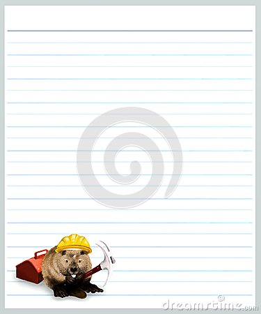 Beaver on Grey Color Lined  Paper