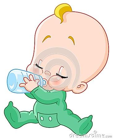 Bebê com frasco