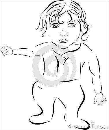 Bebê bonito com cabelo longo e cabeça grande, olhar engraçado