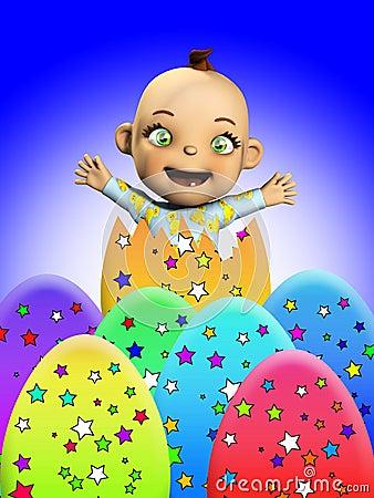 Bebé con los huevos de Pascua