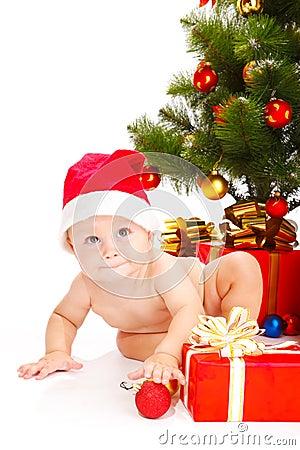 Bebé en sombrero de la Navidad
