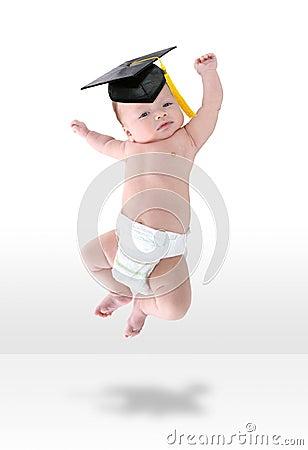Bebé feliz Jumpign para la alegría