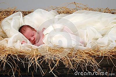 Bebé Jesús en pesebre