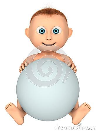 Bebé que sostiene la bola blanca