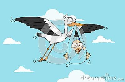 Cigüeña con el bebé