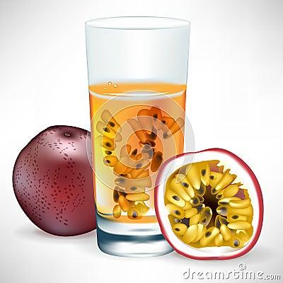 Bebida da fruta de paixão com fruta e fatia