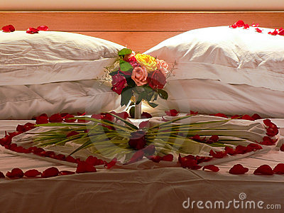 Bed with flowers