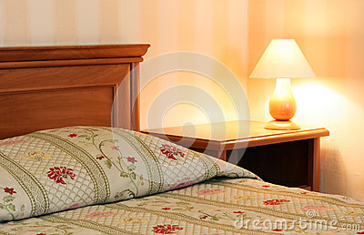 Bed with lamp