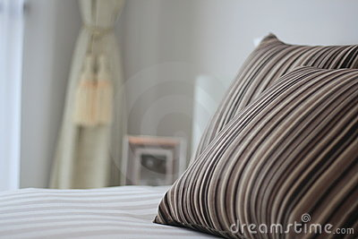 Bed and pillow closeup