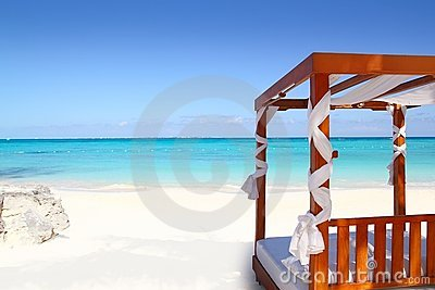 Bed of wood in beach caribbean sea sand