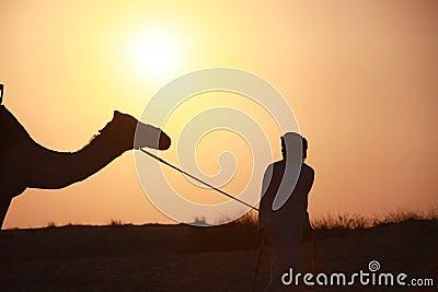 Bedouin met kameel