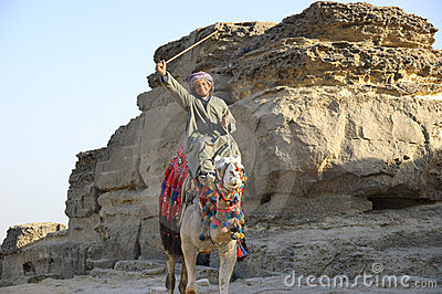 Bedouin with stick Editorial Photo