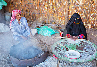 Bedouin village on desert in Egypt Editorial Stock Photo