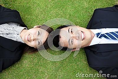 Bedrijfs couple.happy zakenman en vrouw