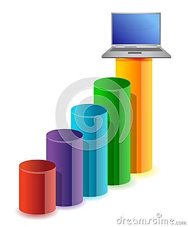 Bedrijfs grafiek en laptop
