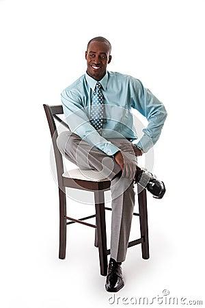 Bedrijfs mens op stoel