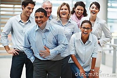Bedrijfs succes - Groep extatische mensen