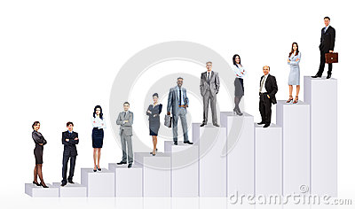 Bedrijfsmensenteam en diagram
