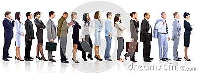 Bedrijfsvrouw en haar team over een witte achtergrond