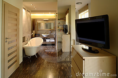 Bedroom And Bathroom Of Luxury Apartment