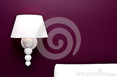 Lamp and purple wall