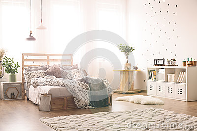 Bedroom with dots on the wall Stock Photo