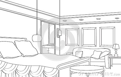 Bedroom with fireplace editable vector furniture for Bedroom designs sketch