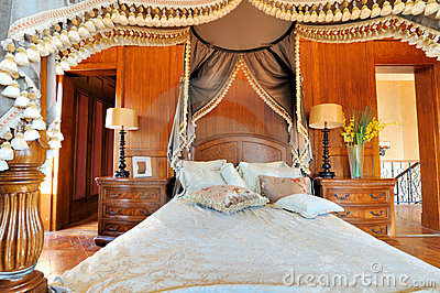 Bedroom and flowery curtain in fancy style