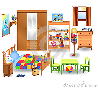 Bedroom Furniture Vector Set